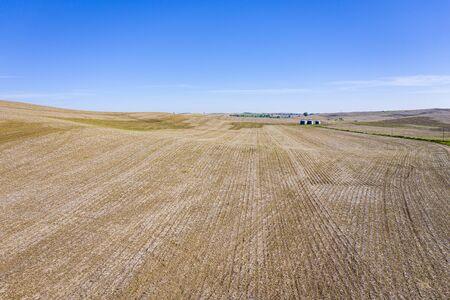 plowed fields in Nebraska Sandhills - aerial view of spring scenery