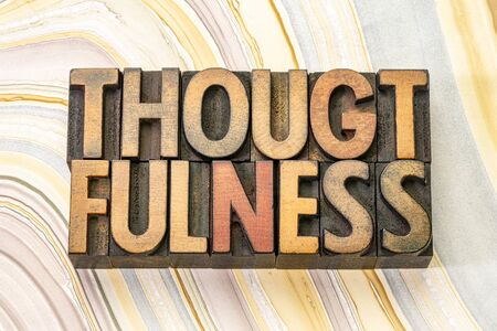 thoughtfulness word abstract in vintage letterpress wood type printing blocks