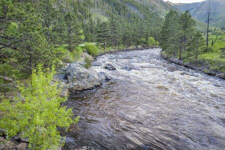 Poudre River and Canyon - aerial view of late spring scenery with high water flow