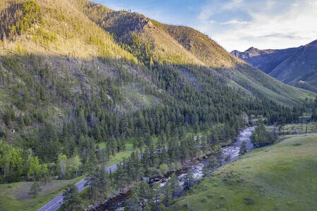 Poudre River and Canyon -aerial view with spring scenery