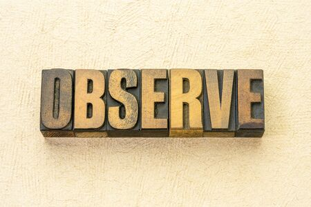 observe word abstract in vintage letterpress wood type against textured handmade paper
