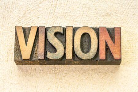 vision word abstract in vintage letterpress wood type against textured handmade paper Reklamní fotografie