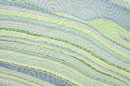 Japanese Washi tissue with white spiral pattern against marbled mulberry paper 写真素材