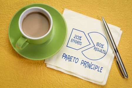 Pareto 80-20 principle concept - handwriting and sketch on a napkin with a cup of coffee 版權商用圖片