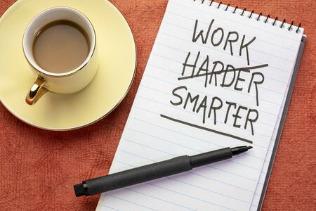 Work smarter, not harder concept - handwriting with a black marker in a spiral notebook with a cup of coffee