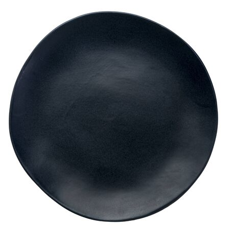 empty black ceramic plate with an irregular edge isolated on white