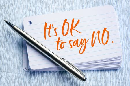 It is OK to say NO - handwriting on a stack of index cards Stock Photo