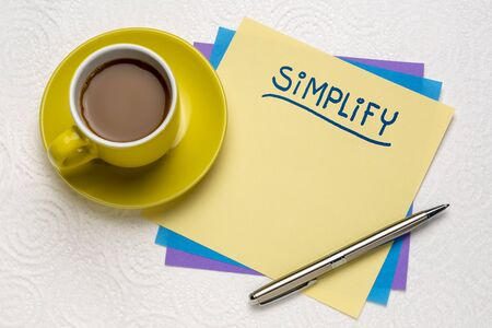 simplify reminder note with a cup of coffee