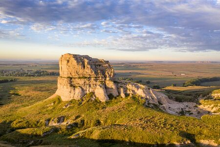 Jail Rock on Nebraska Panhandle - aerial view at summer sunrise