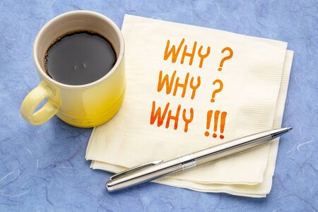 Why? Why? Why!!! Handwriting on a napkin with a cup of coffee.