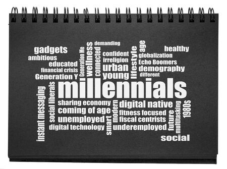 millennials generation word cloud, demography concept - white text in an isolated black paper sketchbook 写真素材