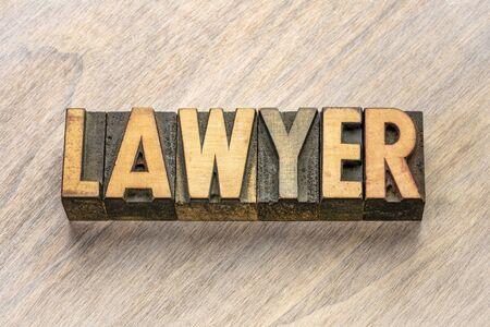 advocaat woord abstract in vintage boekdruk houtsoort blokken Stockfoto