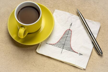 Gaussian (bell) curve or normal distribution graph on white napkin with a cup of coffee Archivio Fotografico