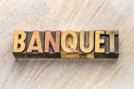 banquet word abstract in vintage letterpress wood type printing blocks
