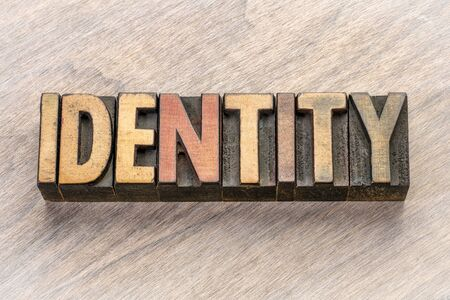 identity word abstract in vintage letterpress wood type Banco de Imagens