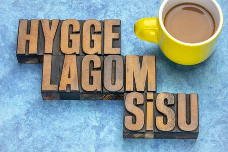 hygge, lagom and sisu scandinavian lifestyle concepts from Denmark, Sweden and Finland - word abstract in vintage letterpress wood type