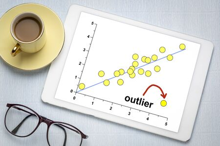 outlier or outsider concept on a digital tablet with a cup of coffee 版權商用圖片