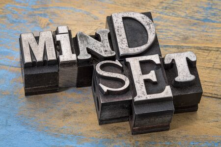 mindset word abstract typography in old metal type, personal development and attitude concept Stock Photo