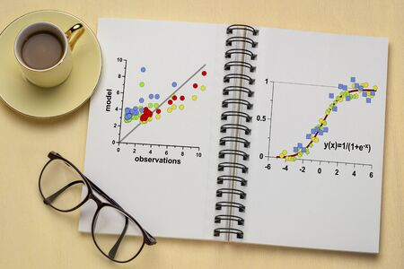 scatter graph and limited growth model in a notebook with a cup of coffee - data following the logistic function with applications in statistics, ecology, medicine, demography and other sciences Reklamní fotografie