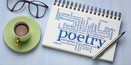 nuage de mots de poésie - écriture manuscrite dans un carnet de croquis en spirale avec une tasse de café, concept d'art, de littérature, de narration et de créativité