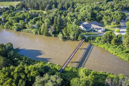 footbridge over MIddle Loup River at Nebraska National Forest near Halsey, aerial view