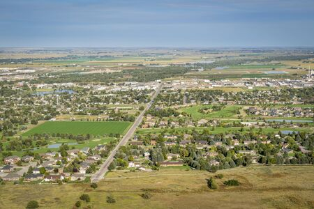 town of Scottsbluff and North Platte River in Nebraska,aerial view from a summit of Scotts Bluff National Monument Reklamní fotografie