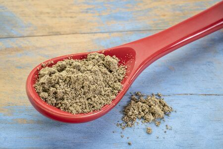 hemp seed protein powder on a stoneware teaspoon against blue painted grunge wood, superfood supplement