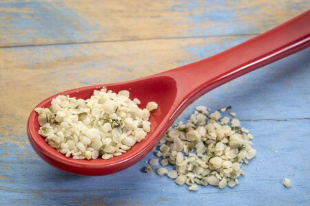hemp seed hearts on a stoneware spoon against blue painted grunge wood, superfood supplement