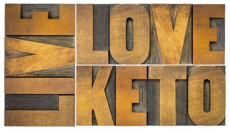 live, love keto, high fat ketogenic diet concept - isolated word abstract in vintage letterpress wood type, healthy lifestyle Stock Photo