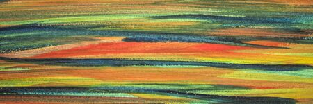green, blue, red and yellow abstract watercolor background hand painted with horizontal brush strokes (self made), panoramic banner
