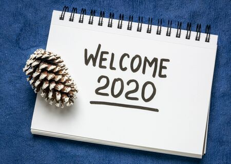Willkommen 2020 Handschrift im Skizzenbuch mit einem frostigen Tannenzapfen, Neujahrskonzept