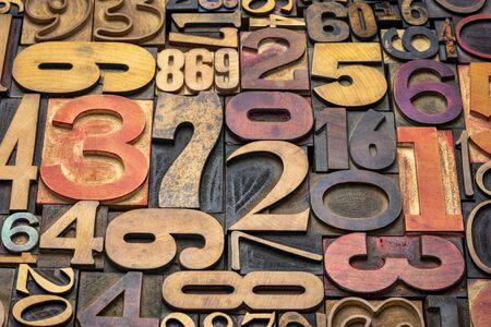 numbers background - vintage grunge letterpress wood type printing blocks from a variety of font sets Banco de Imagens