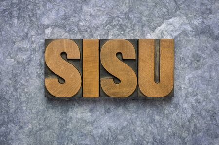 sisu - Finnish concept of lifestyle and national character, word abstract in vintage letterpress wood type against handmade paper Banco de Imagens