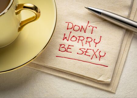 do not worry, be - inspirational handwriting on a napkin with a cup of coffee, pep talk, confidence, self esteem and personal development concept Reklamní fotografie