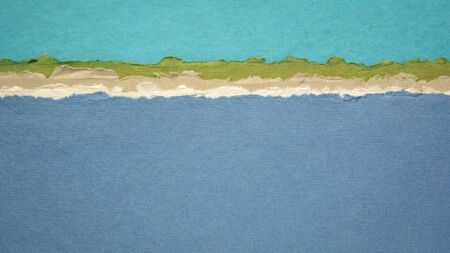 sky and sea abstract landscape panorma in blue and green tones - a collection of colorful handmade Indian papers produced from recycled cotton fabric