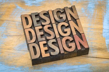design word abstract in vintage letterpress wood type printing blocks stained by color inks