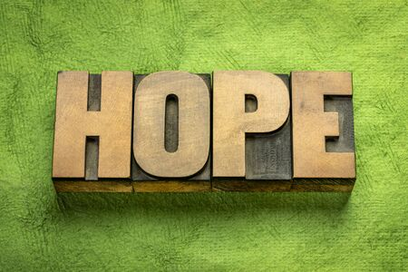hope word - text in vintage letterpress wood type on a green textured bark paper, optimism concept Stok Fotoğraf