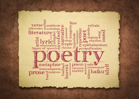 poetry word cloud - handwriting on a handmade rag paper, literature terms