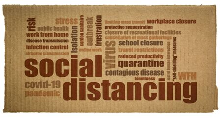 Social distancing word cloud on a piece of corrugated cardboard - set of infection control actions to stop or slow down the spread of a contagious disease, covid-19 coronavirus pandemic concept.