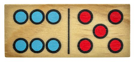 closeup of wooden domino bone with colorful dots (number six and five0 isolated on white