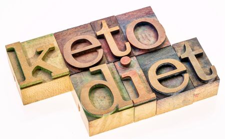 keto diet concept - isolated word abstract in vintage letterpress wood type, healthy ketogenic diet with high fats and low carbs