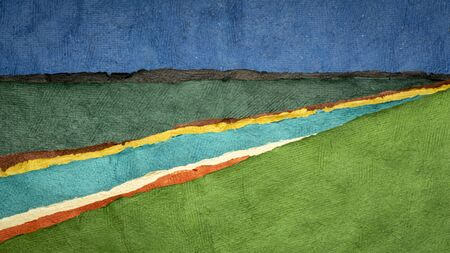 abstract river landscape - a collection of colorful handmade bark papers