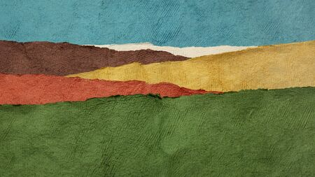 hills and fields colorful landscape abstract created with sheets of handmade textured paper