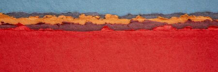 blue and red abstract landscape - a collection of colorful handmade Indian papers produced from recycled cotton fabric, long web banner