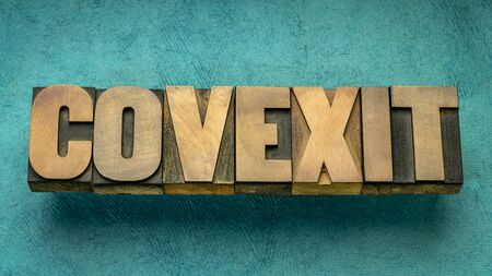 covexit word abstract in vintage letterpress wood type, exit and recovery from coronavirus covid-19 pandemic