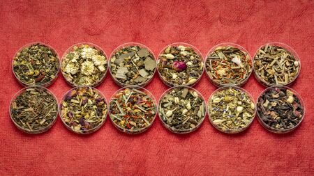 collection of twelve herbal blend Chinese tea in round bowls (Petri dish), top view on a textured handmade bark paper Stock Photo