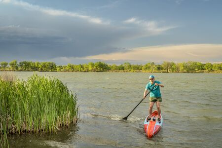 athletic senior male paddler paddling stand up paddleboard on windy lake with green reeds, solo paddling as fitness and training with social distancing Foto de archivo