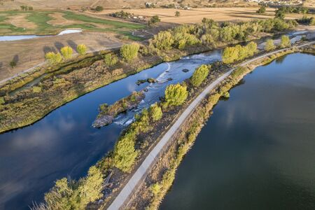 South Platte River with bike trail below Denver in northern Colorado - aerial view