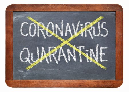 covid-19 quarantine cancelled blackboard sign - white chalk text on a vintage slate chalkboard, coronavirus outbreak concept Foto de archivo