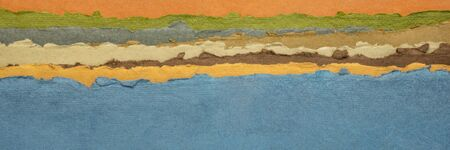 blue lake abstract landscape - a collection of colorful handmade Indian papers produced from recycled cotton fabric, panoramic web banner